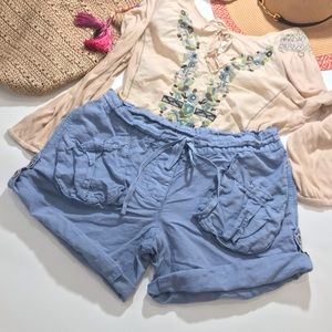 Free People Blue Front Pocket Linen Cargo Shorts